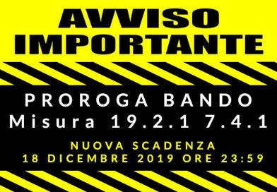 Bando Scaduto:PROROGA Bando Misura 19.2.1 7.4.1 del GAL Terre Di Argil – Nuova Scadenza 18/12/2019